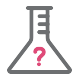 chemistry beaker with question mark - icon