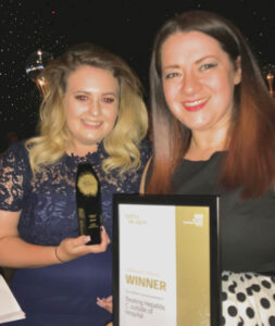 Hannah Wraith (left) with Gemma Patterson at the awards