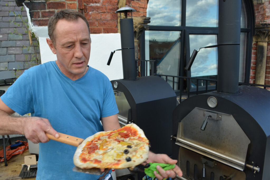 Alan with pizza