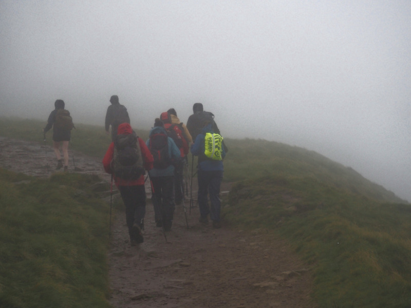 Climbers in the mist